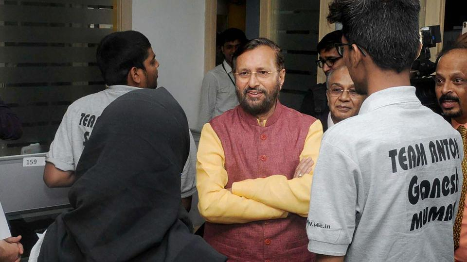Union HRD minister Prakash Javadekar at the inauguration of Smart India Hackathon 2018, in New Delhi on March 30.