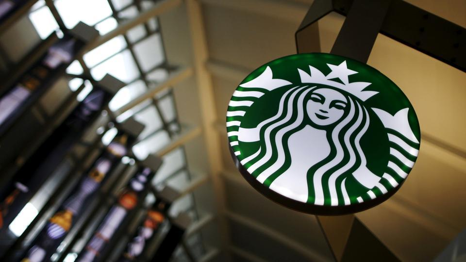 A starbucks store inside the Tom Bradley terminal at LAX airport in Los Angeles, California, US.