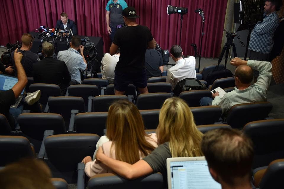 David Warner's wife Candice (bottom C) also broke down during her husband's press conference. (AFP)