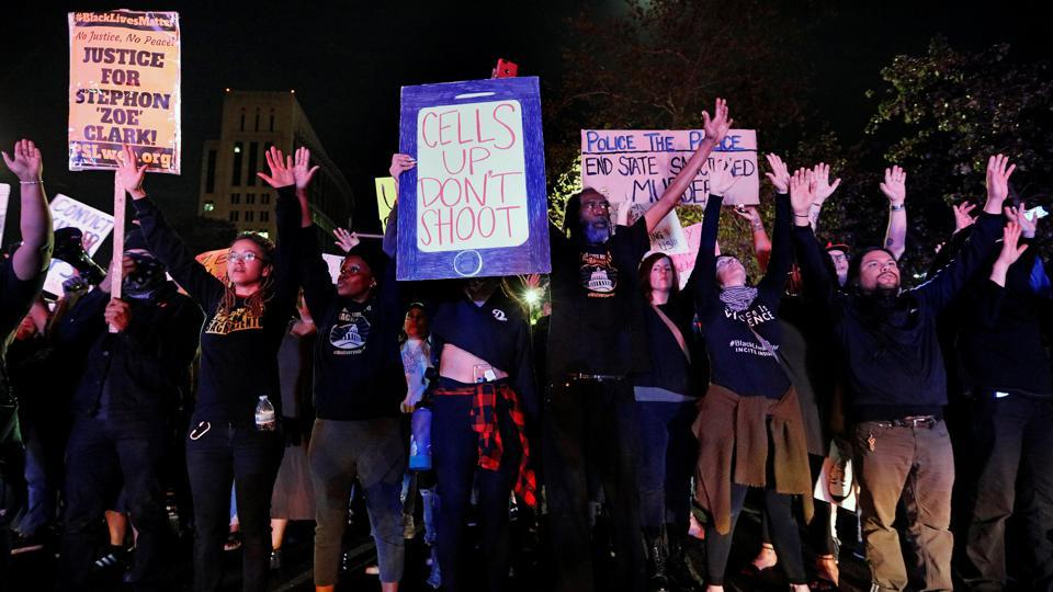 Demonstrators protest the police shooting of Stephon Clark, in Sacramento, California, US, March 30.