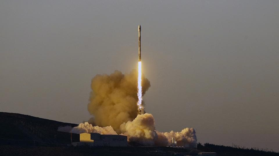 A Falcon 9 rocket lifts off from Vandenberg Air Force Base, California, on March 30, 2018.