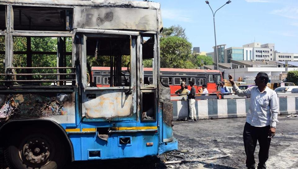 The PMPML bus that caught fire near on Ahmednagar road recently.