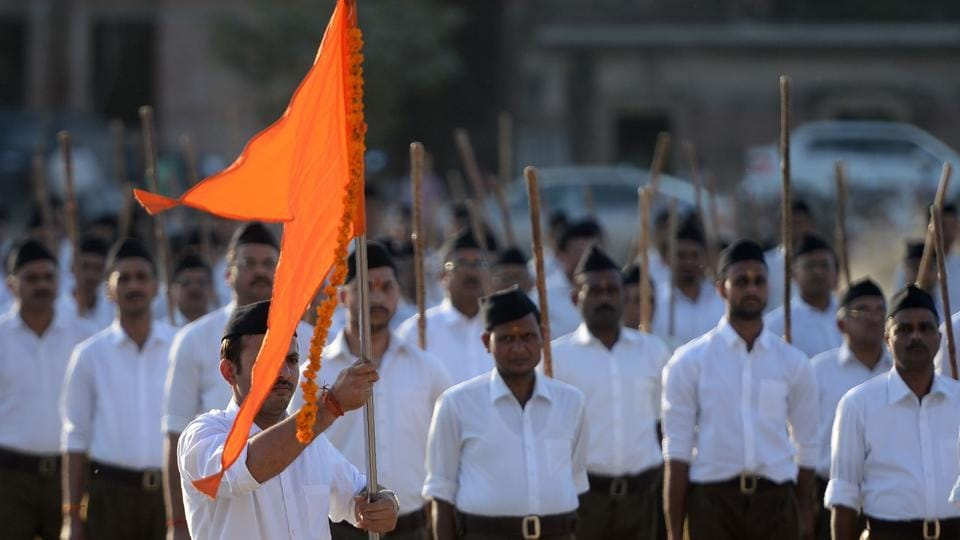 Rashtriya Swayamsevak Sangh (RSS) volunteers march during an event to mark the Hindu New Year in Allahabad on March 18, 2018.