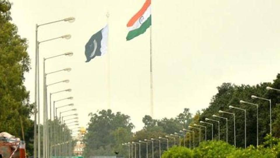National flags of India and Pakistan on both side of Indo-Pak International Border at Wagha near Amritsar.