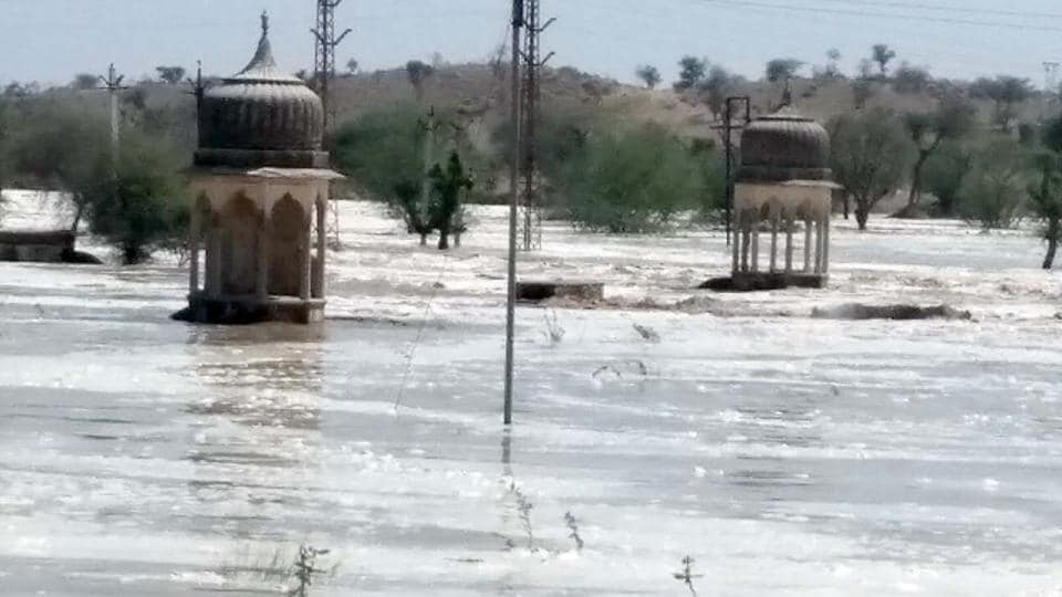 An area flooded after the breach in a reservoir at Malsisar in Jhunjhunu district on Saturday.