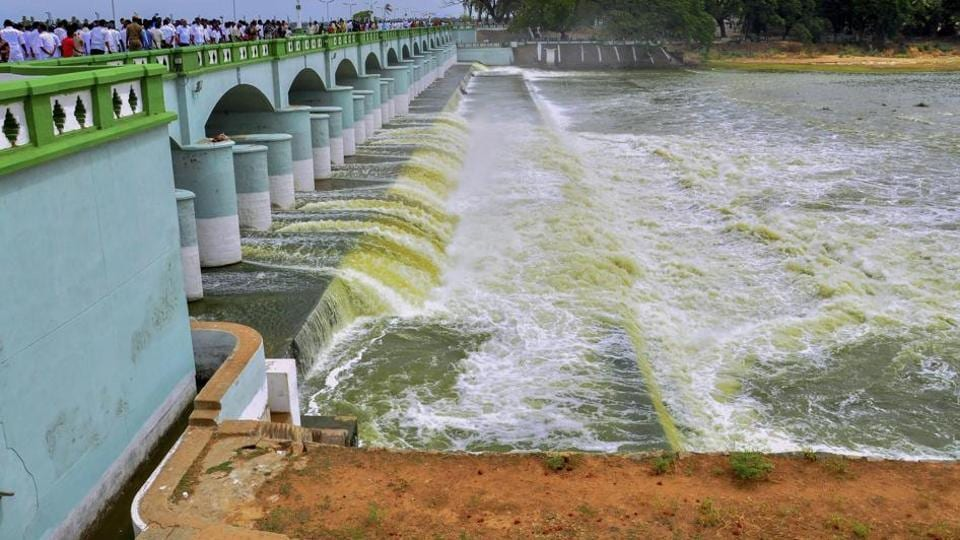 File photo of Cauvery river flowing in to Kallanai Dam in Tiruchirapalli district of Tamil Nadu.