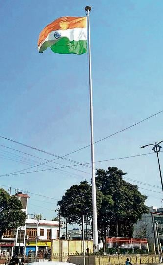 The tallest Tricolour in Uttarakhand was hoisted on a 155-foot-long flag post at Haldwani in Nainital district on Saturday.