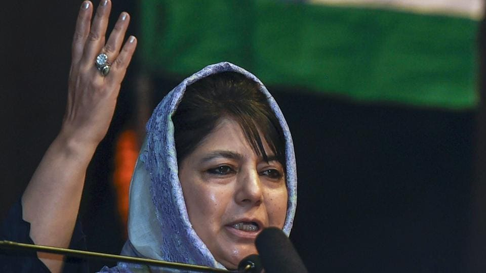 Jammu & Kashmir chief minister Mehbooba Mufti speaks during an interaction with Kashmiri Pandits in New Delhi on March 31.