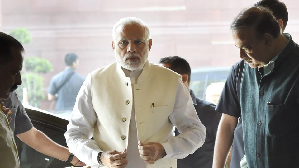 Prime Minister Narendra Modi arrived for a BJP Parliamentary party meet at Parliament library in New Delhi, on March 13, 2018.