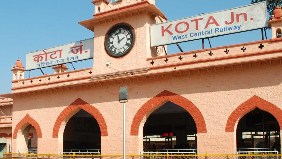 The historical clock at the Kota railway station.