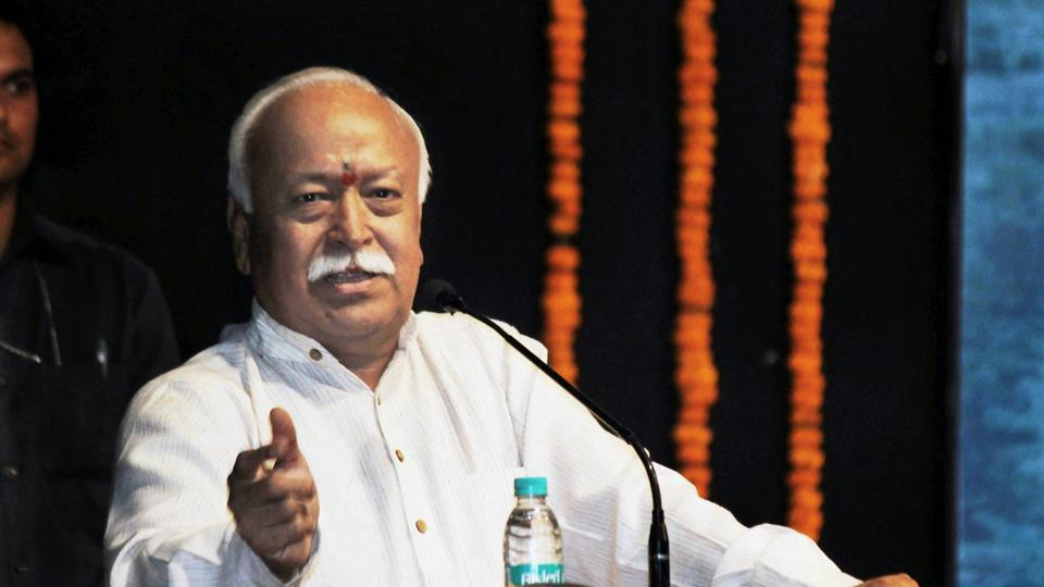 RSS chief Mohan Bhagwat addresses in Nagpur.