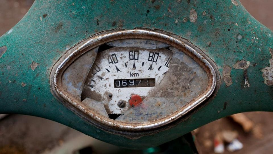 A broken speedometer is seen on an abandoned Vespa scooter, in a Karachi street corner. In Lahore, close to the Indian border, Vespa owners often have to settle for Indian-made parts or ask for mechanics to fashion new pieces of bodywork from scratch.  (Akhtar Soomro / REUTERS)