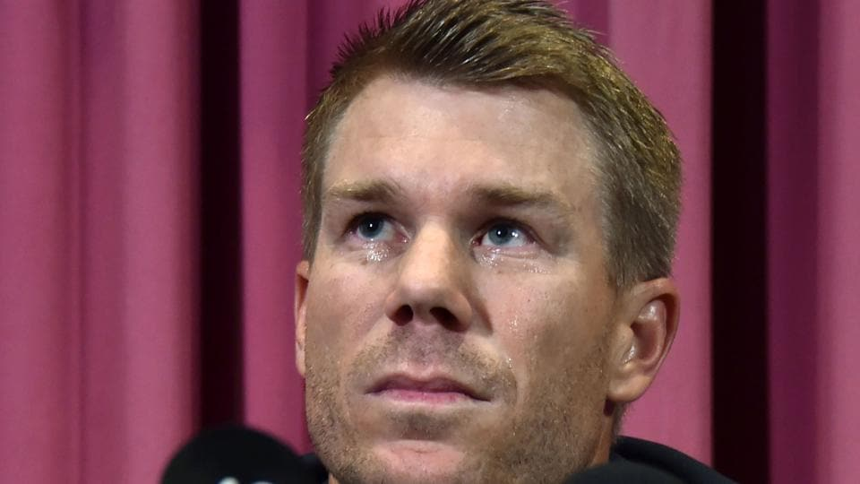 Australian cricketer David Warner listens to a question at a press conference at the Sydney Cricket Ground (SCG) in Sydney on Saturday, after returning from South Africa.