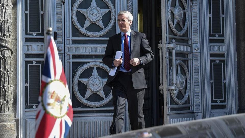 British ambassador to Russia Laurie Bristow leaves the Russian Foreign Ministry headquarters in Moscow on March 30, 2018. Russia had summoned the ambassadors of a number of nations including Britain, France, Germany and Canada to inform them of retaliatory measures after a coordinated campaign by the UK and its allies over a nerve agent attack on a former spy.