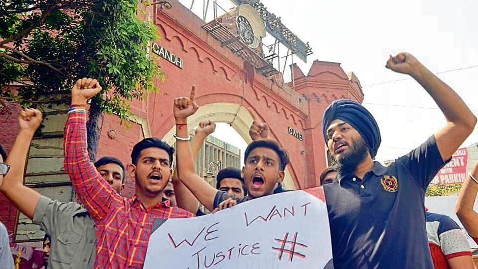 Students holding a protest in Amritsar on Saturday.