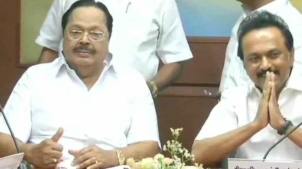 DMK working president MK Stalin at the all-party meet in Chennai on Sunday.