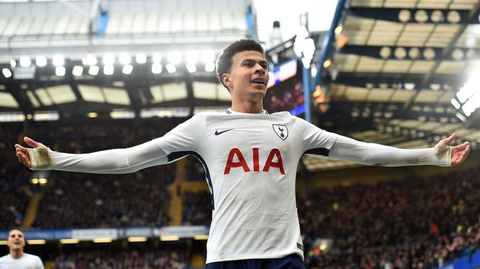 Tottenham Hotspur's English midfielder Dele Alli celebrates after scoring their second goal during the Premier League match vs Chelsea at Stamford Bridge in London on Sunday.