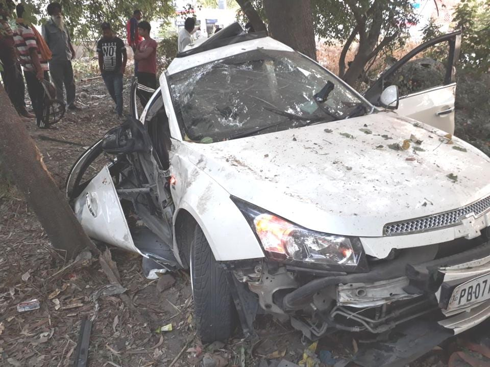 Mangled remains of the car that rammed into a tree on the Hoshiarpur-Chandigarh road, near Mahilpur on Sunday.