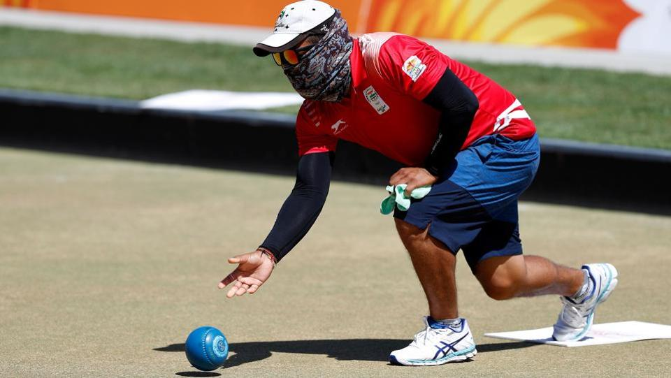 India's Sunil Bahadur takes part in a lawn bowls practice, ahead the 2018 Gold Coast Commonwealth Games, at the Broadbeach Bowls Club on the Gold Coast on Sunday. (AFP)