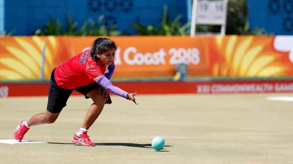 India's Farzana Khan seen practicing on Sunday.  (AFP)