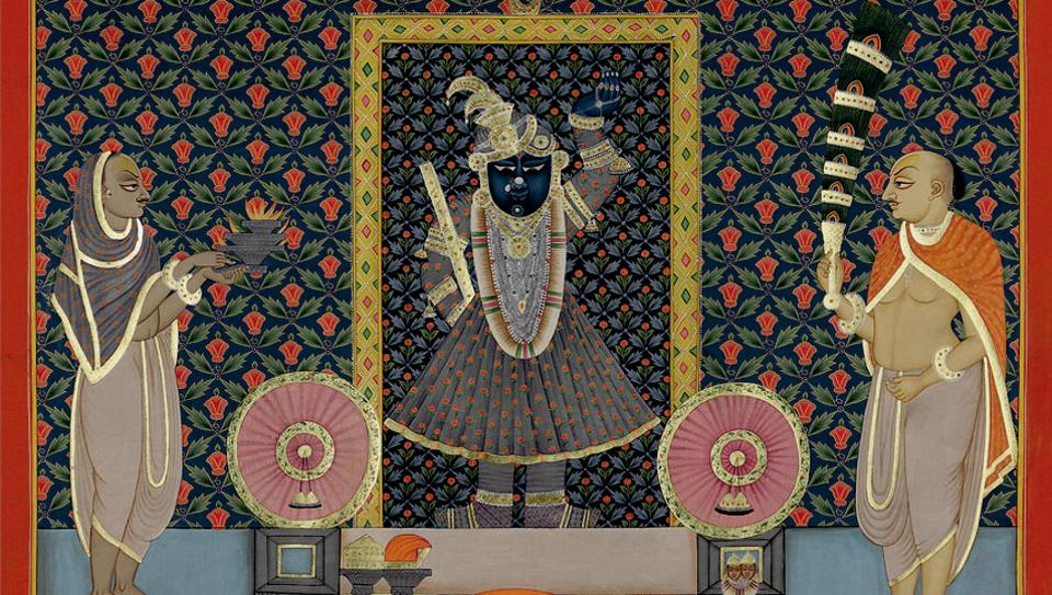 Chandrama ka Shringar, Mughal miniature, stone colour on cloth.