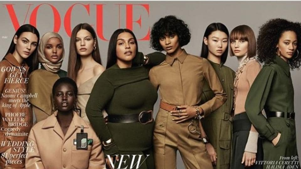 The nine chosen models on the cover of the magazine's May issue have been described as fashion's New Frontiers.