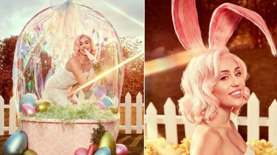 Miley shared photos from the Easter-themed photoshoot on social media.