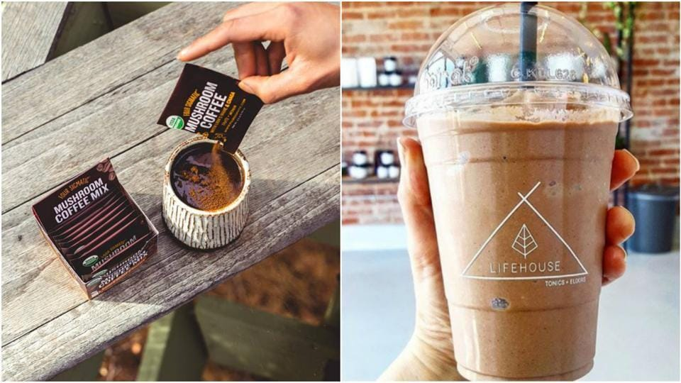 Mushroom coffee by Four Sigmatic, and Shroom Shake by Lifehouse Tonics.