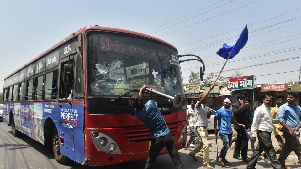 Members of a Dalit organisation during Bharat Bandh in Bhopal on Monday.