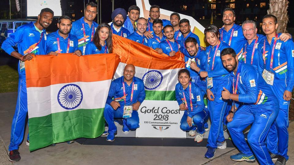 Indian contingent with officials during the flag-hoisting ceremony at the Commonwealth Games 2018 games village in Gold Coast, Australia, on Monday. (PTI)