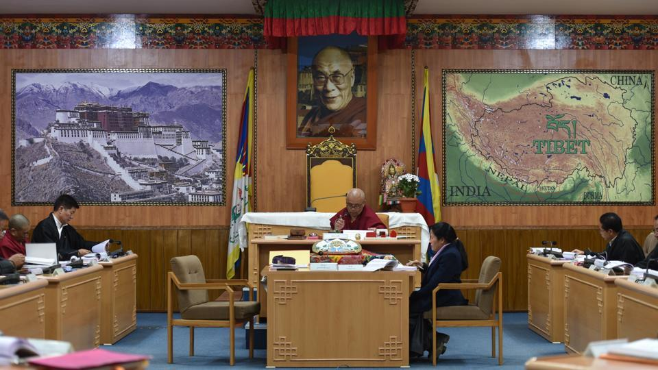 A view of the parliament in session in Dharamsala. This year, as the community celebrates 60 years of its existence in India, it has been a struggle for many. With the Dalai Lama's advancing age, the community is increasingly trying to gaze into the crystal ball of State policy, looking for signs that the Indian government won't turn its back on them after his death.    (Anushree Fadnavis / HT Photo)