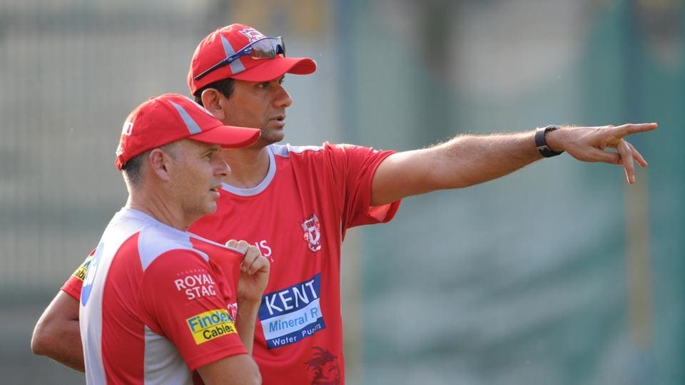 Brad Hodge (L), KXIP head coach, and Venkatesh Prasad, the bowling coach, oversee proceedings during a training session. (Ravi Kumar/HT Photo)