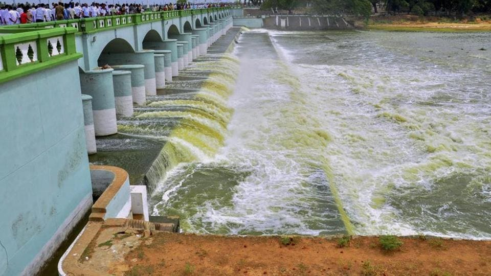 Cauvery river flows into Kallanai Dam in Tiruchirapalli district of Tamil Nadu.
