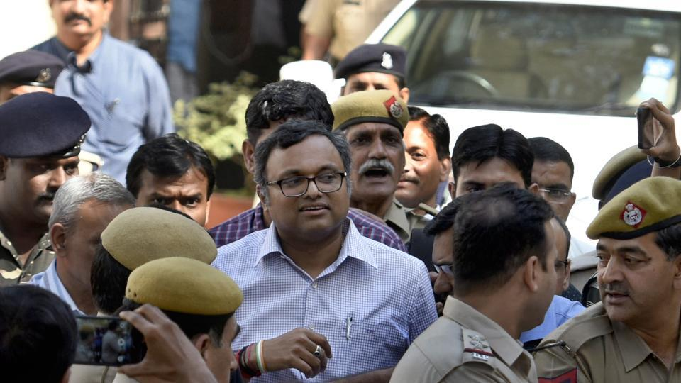 Karti Chidambaram comes out after a hearing at Patiala House Court in New Delhi, on March 12.