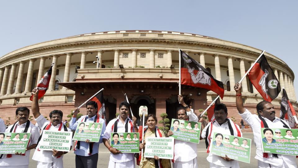 All India Anna Dravida Munnetra Kazhagam (AIADMK) leaders raise slogans demanding a Cauvery Management Board during the budget session, Parliament House, New Delhi, March 27, 2018