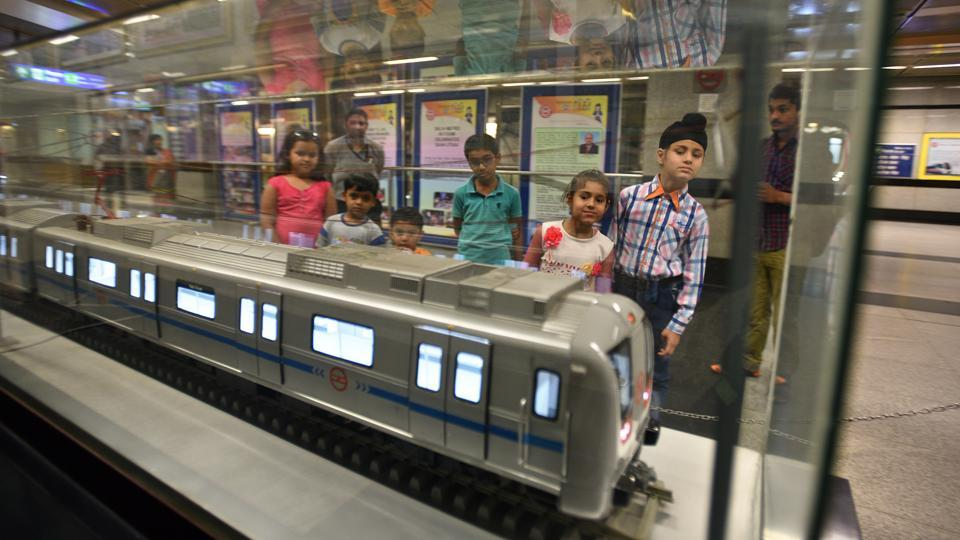 The Delhi Metro Museum at the Patel Chowk Metro Station which showcases the genesis and history of the Delhi Metro, covering major milestones. Possibly the only museum in a functional Metro station worldwide, it has a rich display of photographs and models of trains, stations, and interactive pods that show videos and films on the Metro. (Raj K Raj / HT Photo)