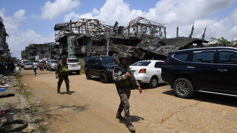 The battle, which ended in October, was the biggest security crisis under firebrand President Rodrigo Duterte. The destruction was similar to that inflicted on Aleppo or Mosul, military and local officials say. (Ted Aljibe / AFP)