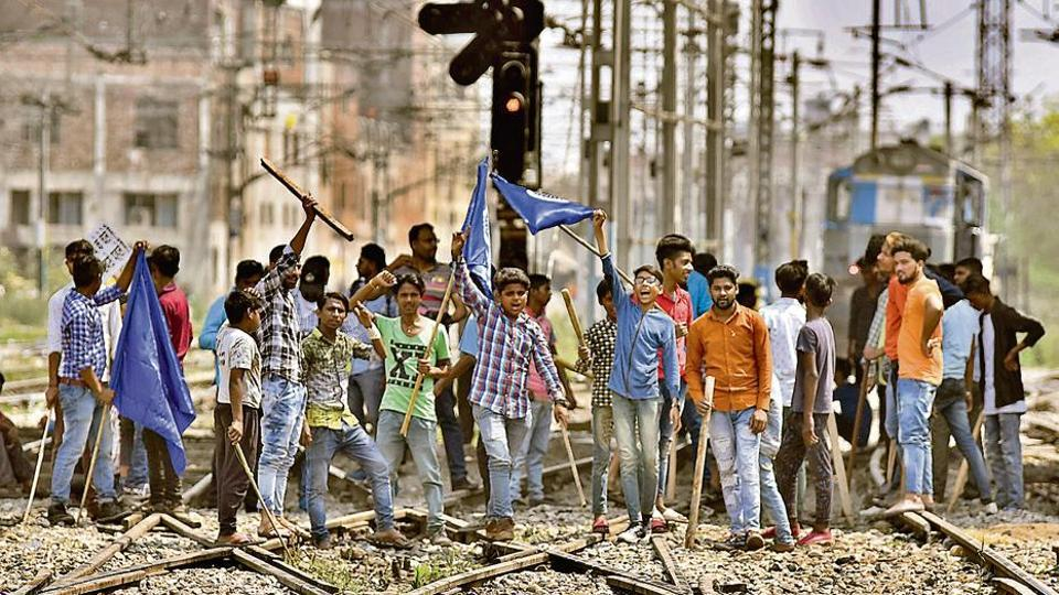 Demonstrators blocking trains at the Ludhiana railway station during the Bharat Bandh by Dalit outfits on Monday.