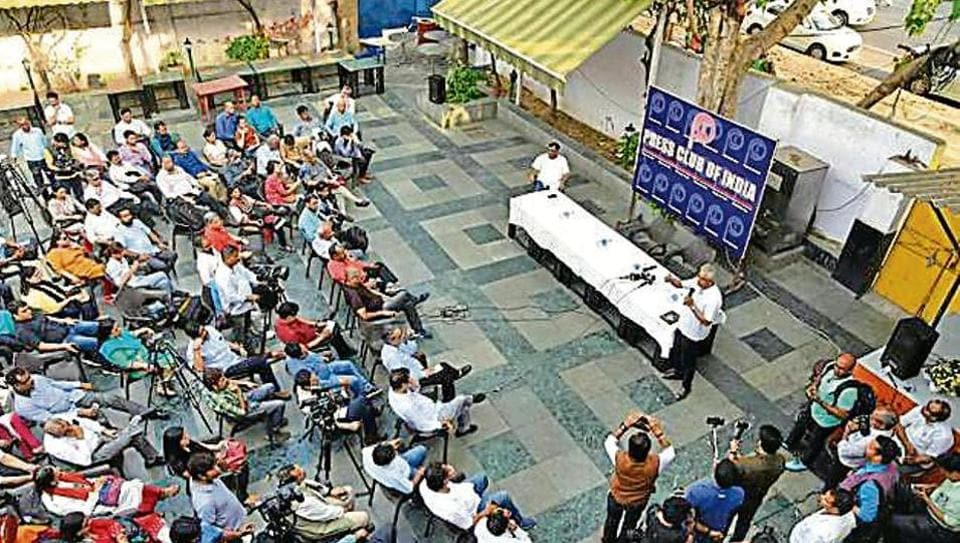 Journalists hold a meeting on I&B ministry's press release about fake news, at Press Club of India in New Delhi on Tuesday.