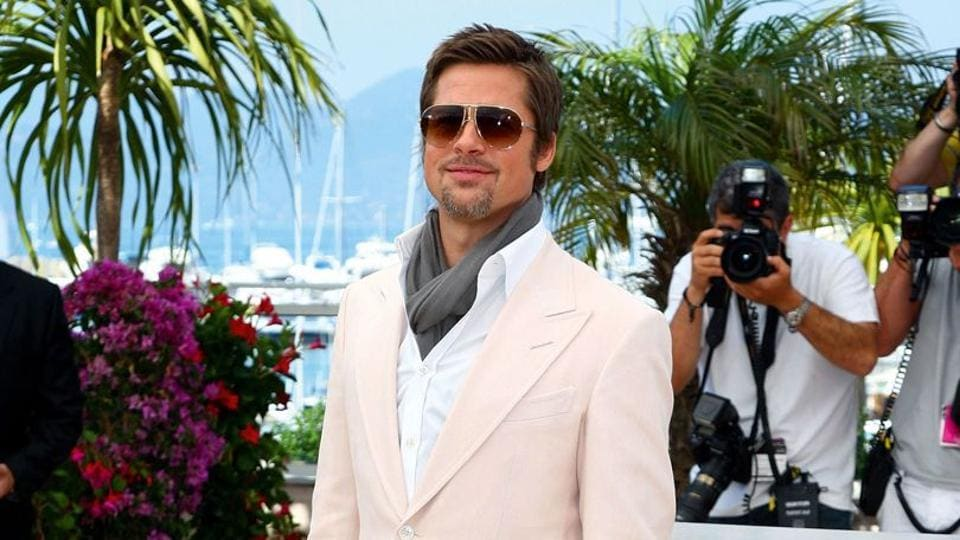 Brad Pitt wears a blush coloured suit at the Cannes Film Festival in 2009. (File AFPPhoto)