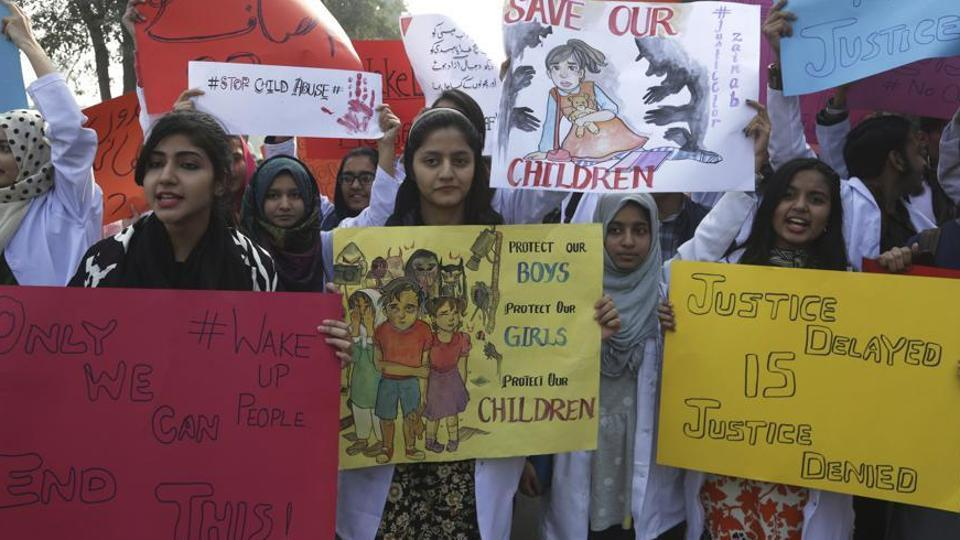 The incidents took place weeks after the nation was rocked by protests after the brutal murder of a minor girl in Kasur district of Punjab (pictured).