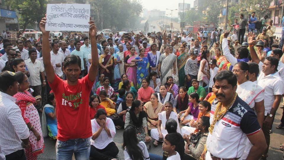 Dalits activists protest in Mumbai against the violence at Bhima Koregaon in Pune.
