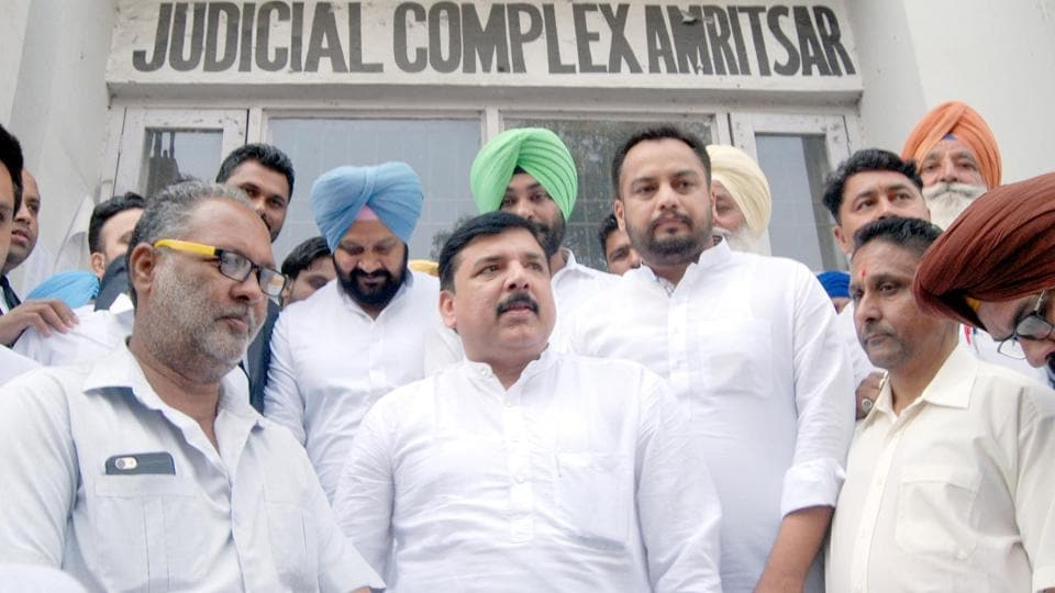 Sanjay Singh coming out of the court in Amritsar on Monday.