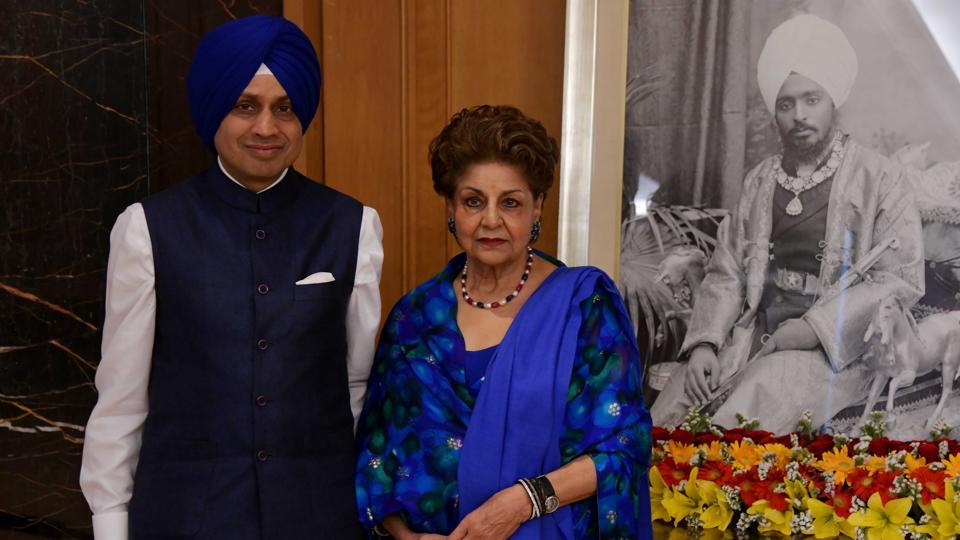 Maharaja Ripudaman Singh's grandson Uday Nabha Khemka with his mother during the launch of a book on the Nabha maharaja in Chandigarh on Monday.