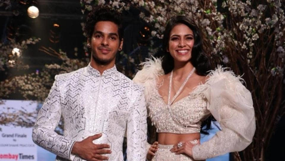 Beyond the Clouds actors Ishaan Khatter and Malavika Mohanan walk the ramp.