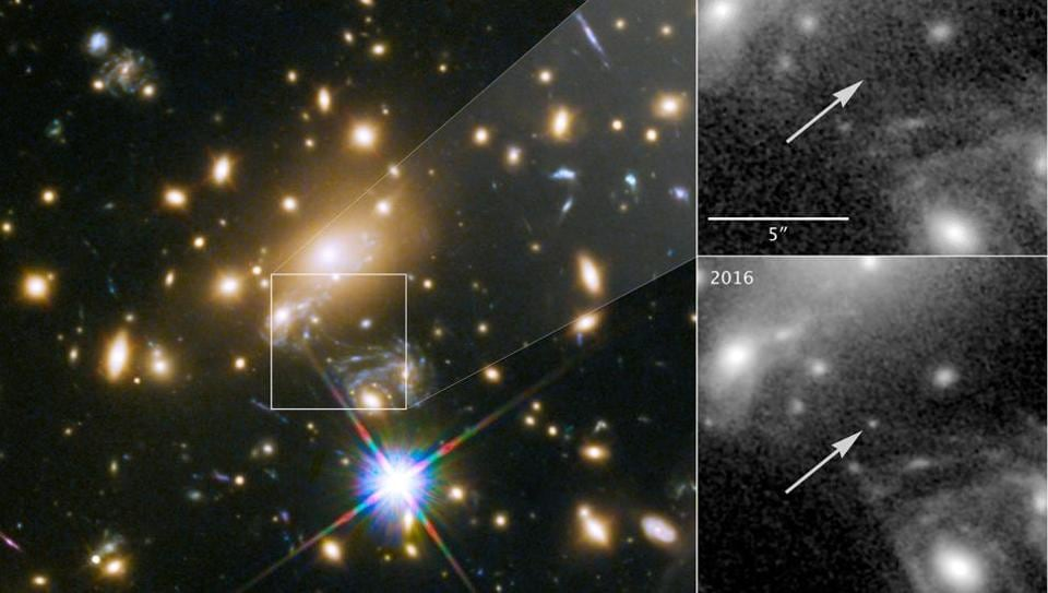 NASA's Hubble Space Telescope image of a blue supergiant star the Icarus, the farthest individual star ever seen, is shown in this image released April 2, 2018. The panels at the right show the view in 2011, without Icarus visible, compared with the star's brightening in 2016.