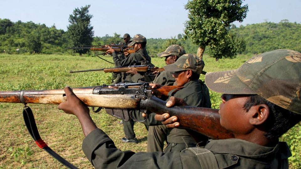 Maoist rebels train in a forest area in Bihar.