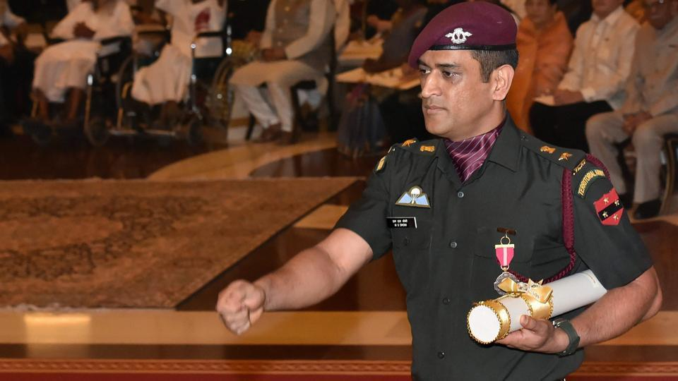 MS Dhoni, who was seen dressed smartly in his official uniform of the Territorial Army for the ceremony, marched to receive the honour (PTI)