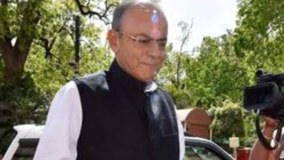 Finance minister Arun Jaitley during the budget session, at Parliament House in New Delhi, on March 28, 2018.