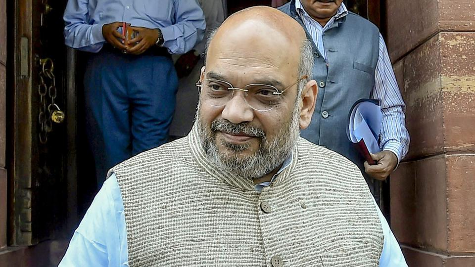 BJP president Amit Shah at Parliament House during the budget session in New Delhi on Monday.